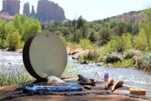Shamanic drum ceremony on shamanic retreat in Sedona
